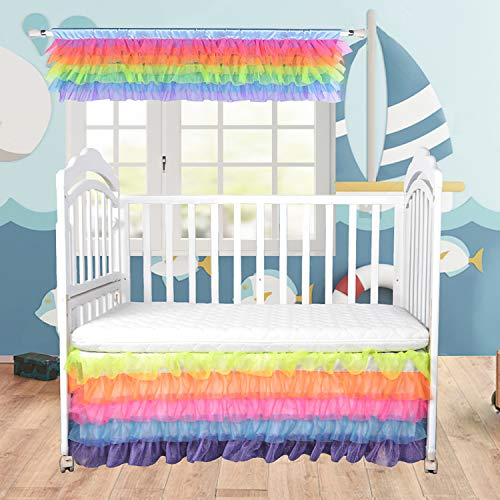 Fulu Bro Baby Rainbow Bed Skirts with Tutu Valances for Windows Layered Crib Skirt Tulle Valance Bed Skirts for Unicorn Room Decor Toddler Girls Baby Kids Bed