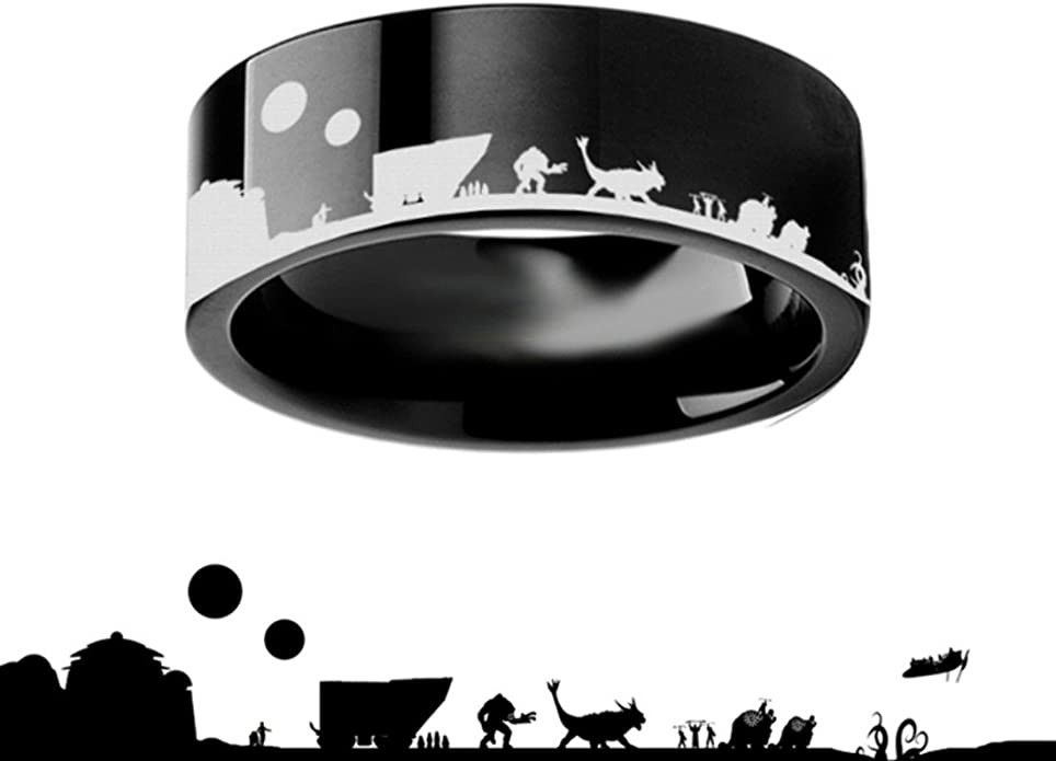 Thorsten Star Wars New Hope Jawas Jabba Palace R2D2 CP3O Ring Flat Black Tungsten Ring 4mm Wide Wedding Band from Roy Rose Jewelry