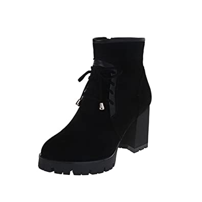 Women's High-Heels Round Closed Toe Imitated Suede Low-Top Solid Zipper Boots Black-Frosted 38