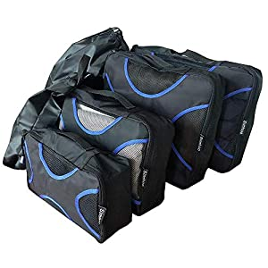 Simhoo Travel Packing Cubes Set Luggage Organizers and Laundry Bag for Clothes,Shoes,Garment,Accessories 6pcs Black with Multi-Size