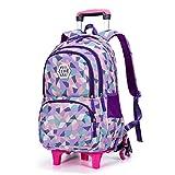 Fanci Geometric Figure Kids Rolling School Backpack Waterproof Nylon Trolley Carry on Luggage