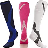TeBo Sport Compression Socks for Men and Women 20-30 mmHg - Full Calf Supportive Stockings