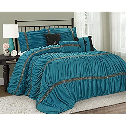 7 piece claraita chic ruched pleated comforter set queen king calking size queen turquoise - Turquoise Bedding