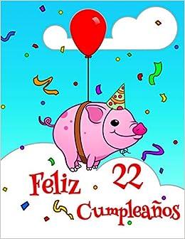 Feliz 22 Cumpleaños: Lindo Cerdo Diseñado Libro de ...