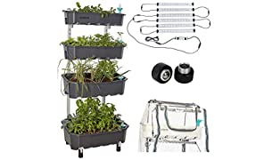 Altifarm Combo Home Farm: Vertical Raised Bed Elevated Garden Self-Watering Planter Kit (4 Tier, Grey) Plus Expansion Packs : Altifarm Grow System + LED Grow Lights + Greenhouse Cover + Wheel Kit …