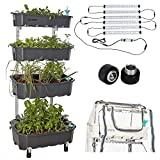 Altifarm Combo Home Farm: Vertical Raised Bed Elevated Garden Self-Watering Planter Kit (4 Tier, Grey) Plus Expansion Packs : Altifarm Grow System + LED Grow Lights + Greenhouse Cover + Wheel Kit ...