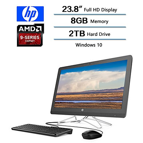 "2018 Newest Flagship HP 23.8"" AIO Full HD All-in-One Desktop, AMD A9-9400 Processor 2.4 GHz, 8 GB DDR4 Memory, 2TB Hard Drive, Windows 10 Home W/Optical Drive, Keyboard and Mouse 2 Year Warranty by HP Flagship"