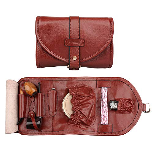 Handmade Genuine Leather Smoking Tobacco Pipe Pouch Bag Organize Case Pipe Tool Lighter Holder Pocket for 2 Pipe ()