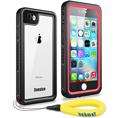 Temdan iPhone 7 iPhone 8 Waterproof Case with Kickstand and Floating Strap Shockproof Waterproof Case for iPhone 7 and iPhone 8 (Pink)