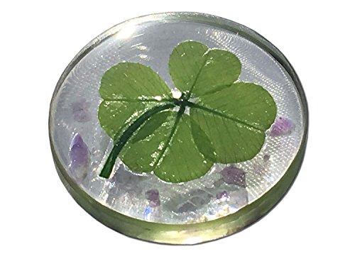 KIN-HEBI Real Four Leaf Clover Good Luck Pocket Token, Preserved, Including Amethyst, 1.25