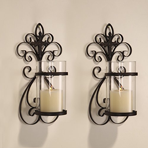 Adeco Iron and Glass Vertical Wall Hanging Scroll and Cross Design 1 Pillar Candle Holder Sconce