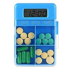 XIHAA Four Girds Case Electronic Timer Pill Box Tablet Pill Organizer Case With Alarm Reminder Medicine Storage Dispenser,Green