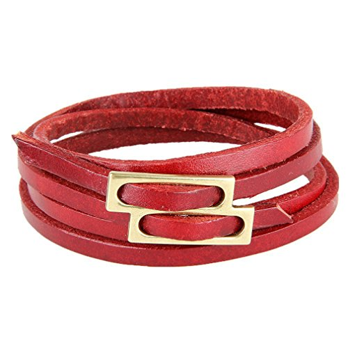Stunning Red Casual Golden Child Buckle Genuine Leather Wrist Cuff Wrap Bracelet Him and Her, Unisex (Resizable) (Genuine Sexy Rhinestone)