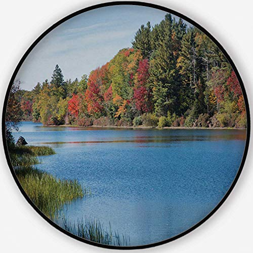 ALUONI New England Brilliant Fall Foliage Elegant/Versatile Round Floor Mat,124513 for Home/Office/Hotel/Guest Room,4'Round (Best Places To See Fall Foliage In New England)