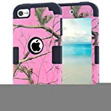 Ipod Touch 5 Case,Ipod Touch 6 Case,Lantier Luxury Triple Layer Hybrid Tree Pattern Camo Combo Soft Silicone + Hard PC Cover Protector for Apple Ipod Touch 5 6th Pink + Black