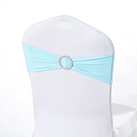 Miraise Spandex Stretch Chair Sashes Bows Elastic Chair Cover Bands With  Buckle Slider Sashes Bows For