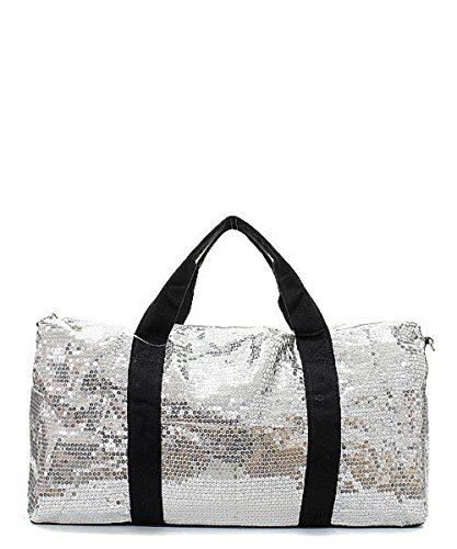 Sequin Large Duffel Bag with Adjustable Shoulder Strap (Silver)