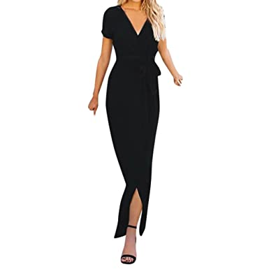 f9550f1bd6bb FNKDOR Summer Womens Solid Elegant Deep V-Neck Evening Party Concert Dating  Casual Maxi Dress Ladies Party Evening Long Wrap Sun Dress  Amazon.co.uk   ...