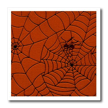 3dRose Sandy Mertens Halloween Designs - Two Spiders on a Web Drawing Pattern in Burnt Orange - 8x8 Iron on Heat Transfer for White Material -