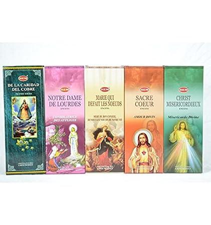 Catholic Prayer Incense Assortment Hem Pack of 100 Incense Sticks (5 Scents)