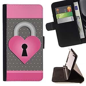 Momo Phone Case / Flip Funda de Cuero Case Cover - Corazón del lunar Rosa Gris - Motorola Moto E ( 1st Generation )
