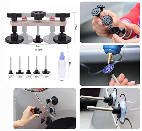 HOTPDR Paintless Dent Removal Tools Dent Repair Puller Kit PDR Dent Lifter Puller Grip PRO with Hammer Tab Down Tools 100W Glue Gun for Auto Body Dent Repair (60 Pcs) by HOTPDR (Image #2)