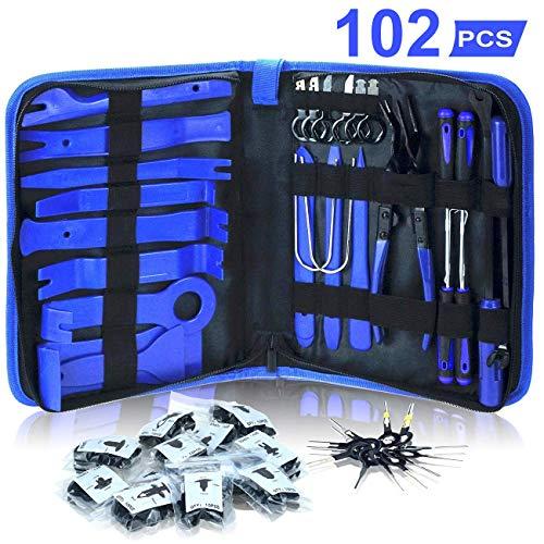Dualeco Trim Removal Tool Set 102Pcs, Car Trim Puller Tool Kit, Plastic Pry Tools Set for Trim/Panel/Door/Audio, Auto…