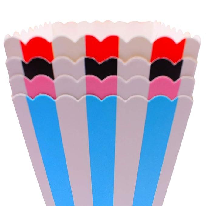 48pcs Cajas para Palomitas,Raya Ondas Cajas Palomitas ,Para Boda Fiesta ,Cumpleaños Picnic,Colores mezclados