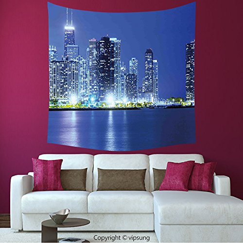 House Decor Square Tapestry-Urban Chicago City Night Financial District Skyscrapers Buildings Downtown Panorama Violet Blue Silver_Wall Hanging For Bedroom Living Room (Financial District Halloween)