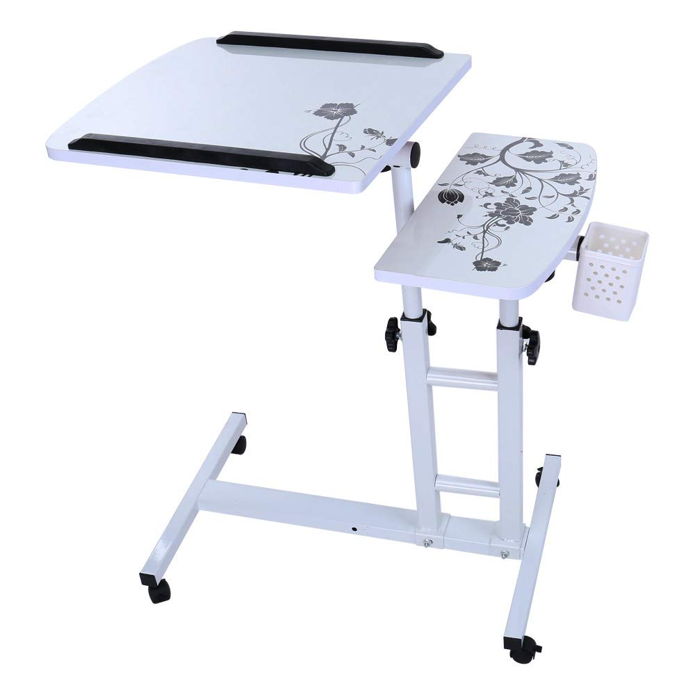 Transer Laptop Rolling Cart Standing Table Portable Height Adjustable Mobile Laptop Computer Stand Desk, US STOCK (White)