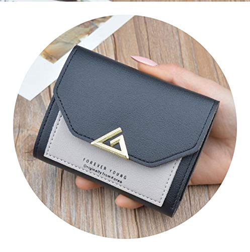 (pursuit-of-self wallet women Small Purse Students Coin Purse 3 Fold Wallets,black)