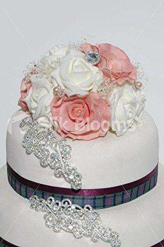 Vintage Pink Ivory Rose Round Artificial Wedding Cake Topper