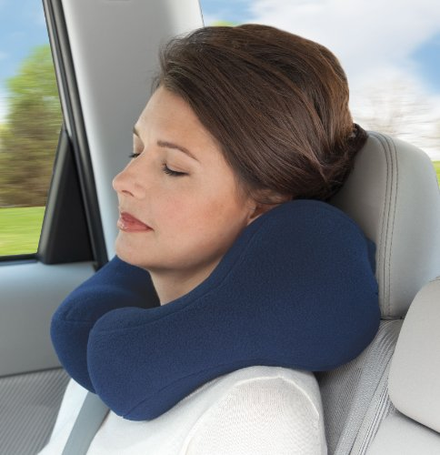 Sunshine Pillows Ergonomic Travel Neck Pillow, Cervical Neck Support for Neck Pain Relief and Prevention, Cushion Roll Traction Sleeping Car Bus Train Airplane Riding (blue, petite/small) -