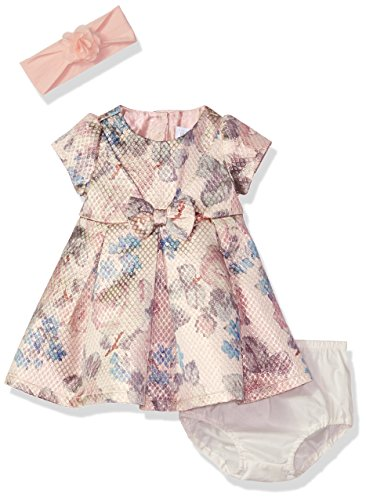 The Children's Place Baby Floral Jacquard Dress, Rose Gold 90538, 12-18MOS (Rose Floral Dress)