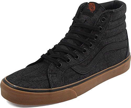 Vans Men's Sk8-Hi Reissue (50th) Skate Shoe (Men 5 Women 6.5, (Denim C&l) Black/Gum)