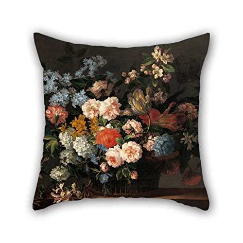 Pillowcover Of Oil Painting Jean-Baptiste Monnoyer - Still Life With Basket Of Flowers,for Floor,play Room,valentine,club,car Seat,father 20 X 20 Inches / 50 By 50 Cm(each Side)