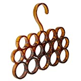 InterDesign Tor Trois Scarf Closet Hanger, No Snag Storage for Scarves, Ties, Belts, Shawls, Pashminas, Accessories - 16 Loops, Brown