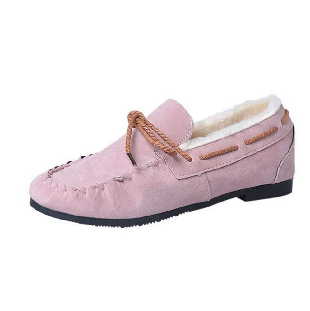 Femmes Casual Flat 17350 Slip on Rose Hiver Chaud Plat Bateau Sandales en Caoutchouc Rond Bowtie Pea Chaussures De Bateau Rose b383766 - shopssong.space