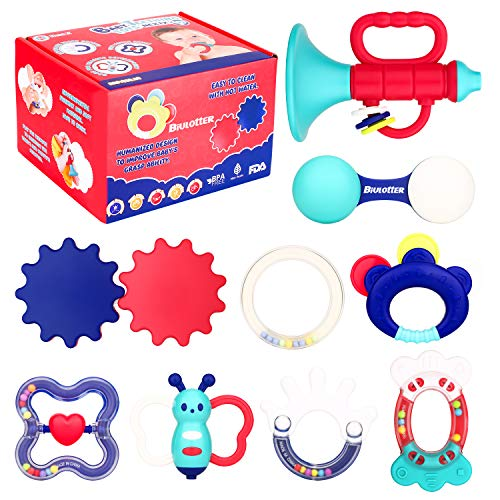Biulotter 9 Pack Baby Teething Toys Infant Training Toy Case