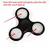 Led Tri Fidget Hand Spinners With On/off Switch 3 Models Flashing Light Finger Toy for Kids And Adults Stress Reducer/ADD/ADHD/Anxiety/Boredom