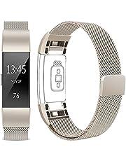 Vancle Für Fitbit Charge 2 Armband, Edelstahl Armband uhren Watch Band Fitness für Fitbit Charge2 Ersatz Armbänd (Champagner, Large)