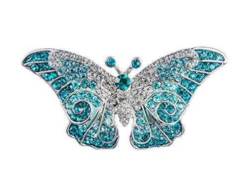 Alilang Empress Monarch Winged Butterfly Swarovski Crystal Rhinestones Brooch Pin , Blue