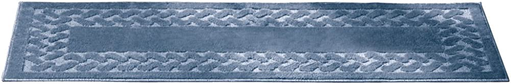 Collections Etc Herringbone Carpeted Runner Rug, Solid-Colored with Plush Decorative Trim Accents and Skid-Resistant Backing for Long Hallway