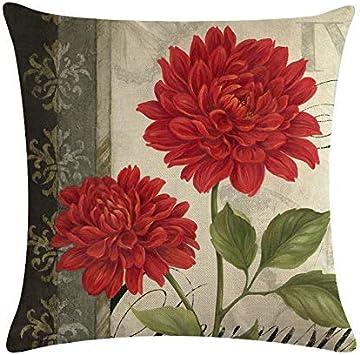 45cmX45cm Flowers Pattern Home Throw Pillow Case Cotton Linen Sofa Cushion Cover