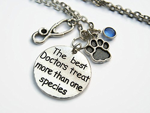 - Personalized Veterinarian Necklace, The Best Doctors Treat More Than One Species, Veterinary Birthstone Jewelry