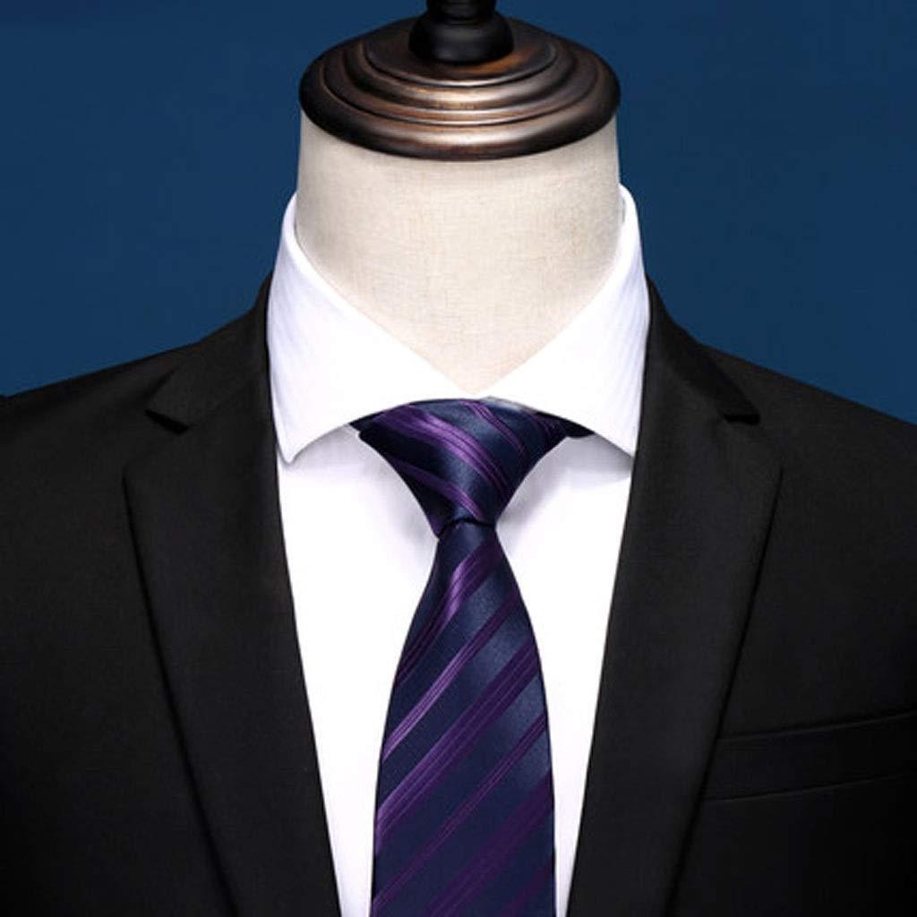 Navy Bule Striped Slim Solid Color Tie for Wedding Business Party LDG Mens Necktie Color : P8-7052