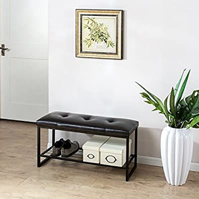 "Zinus Mindy Faux Leather Tufted / Hallway / Entry / Bed Bench with Storage Shelf / 36 Inch, Brown - Dark brown faux leather tufted upholstery with wire storage shelf Dimensions: 36"" W x 12""D x 18""H. 2.5 inches of foam support plus fiber padding combine for cushioned seating comfort - entryway-furniture-decor, entryway-laundry-room, benches - 51cIw jr1KL. SS400  -"