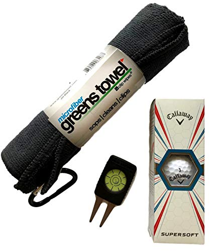 Exclusive Golf Gift Set for Men & Women! Box of 3 Callaway Golf Balls, Microfiber Towel with Clip, Putt Reader & Divot Repair Tool Or Stocking Stuffer for The Serious Golfer! ()