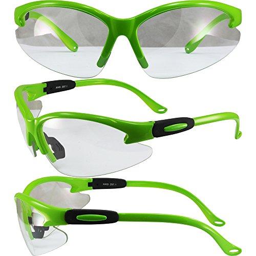 6d5127cf5f3 Moto Frames Cougar Neon Green Frame Safety Glasses Clear Lens