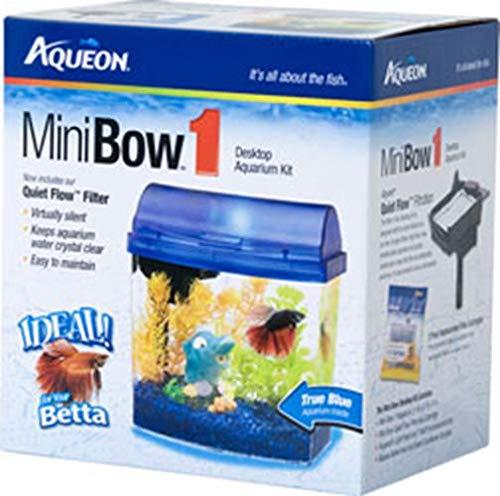 Aqueon MiniBow LED Aquarium Kit, Blue, 1 Gallon - Mini Bow Desktop